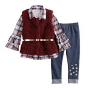 Toddler Girl Little Lass Plaid Ruffle Henley, Faux-Fur Vest & Jeggings Set