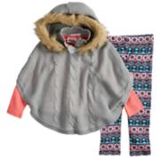 Toddler Girl Little Lass Hooded Poncho, Tee & Printed Leggings Set