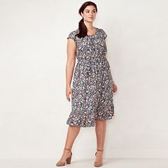 Plus Size LC Lauren Conrad Print Fit & Flare Midi Dress