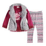 Toddler Girl Little Lass Faux-Fur Vest, Peplum Top and Floral Leggings Set