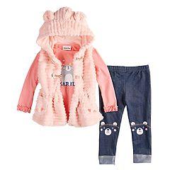 Toddler Girl Little Lass Faux-Fur Vest, Graphic Tee & Leggings Set