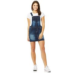 Juniors' Wallflower Denim Skirt Overalls