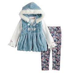 Toddler Girl Little Lass Ruffled Tee, Hooded Plush Vest & Floral Leggings Set
