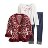 Toddler Girl Little Lass Tribal Lurex Cardigan, Foiled Hearts Tee & Cuffed Jeggings Set