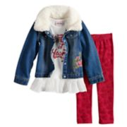 "Toddler Girl Little Lass ""Wild At Heart"" Peplum Tee, Jean Jacket & Velvet Leggings Set"