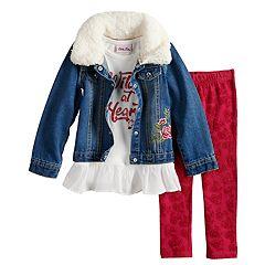 Toddler Girl Little Lass 'Wild At Heart' Peplum Tee, Jean Jacket & Velvet Leggings Set