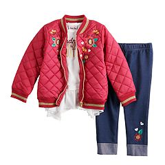 Toddler Girl Little Lass Quilted Bomber Jacket, Ruffled Top & Embroidered Jeggings Set
