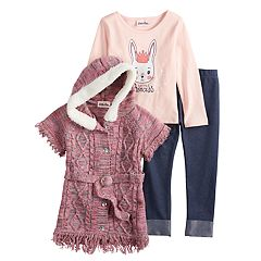Toddler Girl Little Lass Cable-Knit Hooded Sweater, 'Little Princess' Tee & Cuffed Jeggings Set