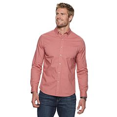 Men's SONOMA Goods for Life™ Modern-Fit Long Sleeve Solid Poplin Button-Down Shirt