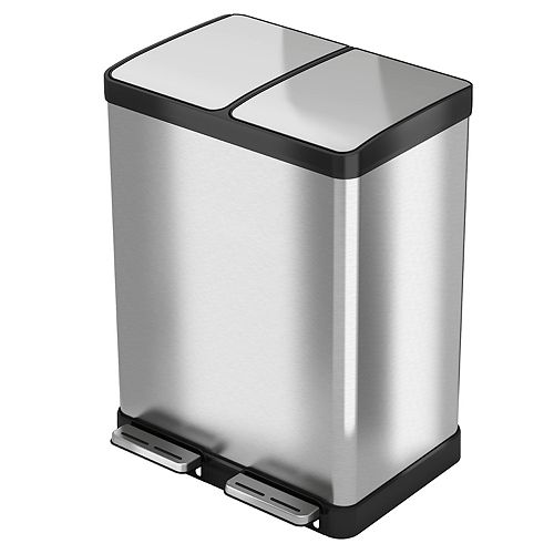 itouchless halo premium softstep 16 gallon stainless steel step recycler trash can. Black Bedroom Furniture Sets. Home Design Ideas