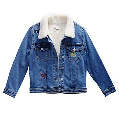 Girls 7-16 Maddie Embroidered Patches Denim Jacket