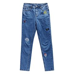 Girls 7-16 Maddie Embroidered Patches Denim Skinny Jeans