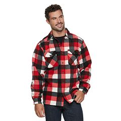 Men's Victory Rugged Wear Plaid Sherpa-Lined Fleece Shirt Jacket