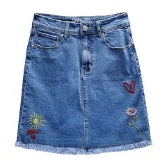 Girls 7-16 Maddie Embroidered Patches Denim Skirt