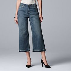 Women's Simply Vera Vera Wang Raw Hem Midrise Wide-Leg Crop Jeans