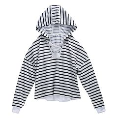 Girls 7-16 Maddie Striped Lace-Up Hoodie Sweatshirt