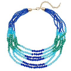 Napier Colorful Bead Multi Strand Necklace