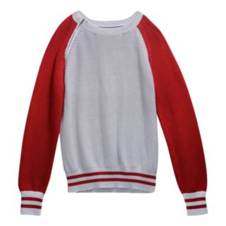 Girls 7-16 Maddie Colorblock Cropped Varsity Sweater