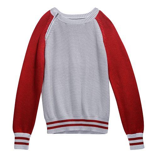 Girls 7-16 Maddie Colorblock Cropped Varsity Sweater