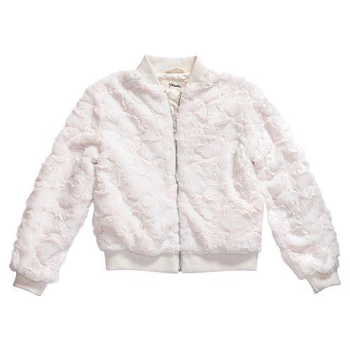 Girls 7-16 Maddie Fuzzy Bomber Jacket
