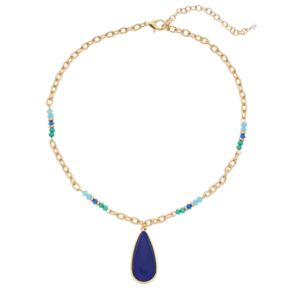 Napier Blue Teardrop & Bead Necklace