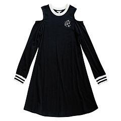 Girls 7-16 Maddie Knit Cold Shoulder Varsity Dress