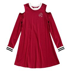 Girls 7-16 Maddie Knit Cold Shoulder Varsity Dress