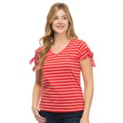 Women's IZOD Striped Tie-Sleeve Tee