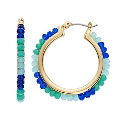 Napier Beaded Hoop Earrings