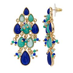 Napier Beaded Teardrop Chandelier Earrings