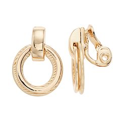 Napier Doorknocker Hoop Clip-On Earrings