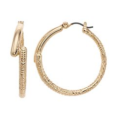 Napier Textured Large Hoop Earrings
