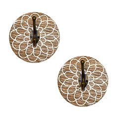 New View Decorative Wood Wall Hook 2-piece Set