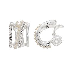 Napier Simulated Crystal & Simulated Pearl C-Hoop Clip-On Earrings