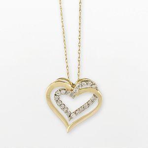 10k Gold 1/4-ct. T.W. Diamond Double-Heart Pendant