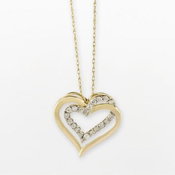 10k Gold 1/4-ct. T.W. Diamond Double-Heart Pendant