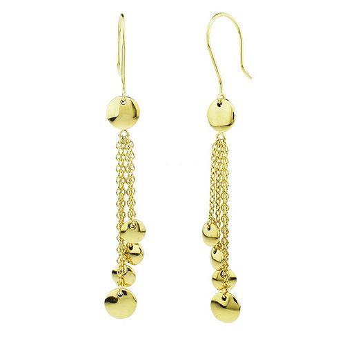 Se Chic 14k Gold Graduated Disc Drop Earrings