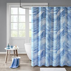 Madison Park Azure Printed Sheer Shower Curtain & Liner