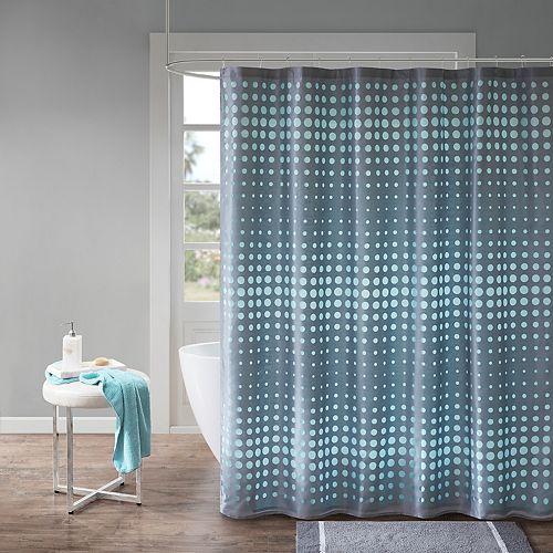 Madison Park Essentials Circe Faux Silk Laser Cut Circle Contrast Shower Curtain