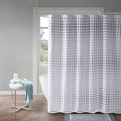 Madison Park Essentials Circe Faux Silk Laser Cut Circle Contrast Shower Curtain
