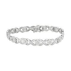 Sterling Silver 1/4 Carat T.W. Diamond 'XO' Bracelet