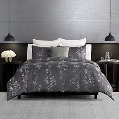 Simply Vera Vera Wang Dark Linear Floral 3-piece Duvet Cover Set