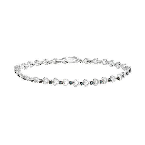 Sterling Silver 1/6 Carat T.W. Blue Diamond Heart Link Bracelet