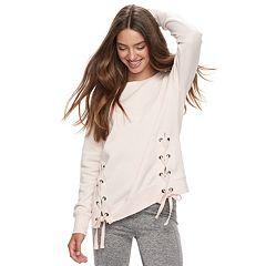 Juniors' Pink Republic Lace-Up Sweatshirt