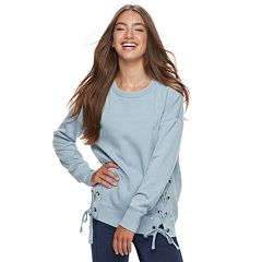 Juniors' Pink Republic Lace-Up Sweatshirt