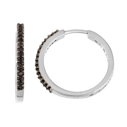 Sterling Silver 1 4 Carat T W Black Diamond Hoop Earrings