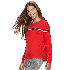 Juniors' Pink Republic Chest Stripe Sweatshirt