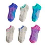 Girls 7-16 adidas 6-pack No-Show Striped Socks