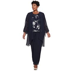 Plus Size Le Bos Embroidered Bell Sleeve Top, Cardigan & Pants Set