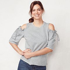 Women's LC Lauren Conrad Weekend Cold-Shoulder Ruffle Sweatshirt